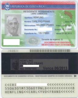 The new Costa Rica DIMEX residency card
