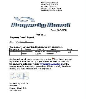 A Property Guard report of a Costa Rica property title