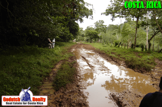 Muddy roads in Costa Rica rainy season